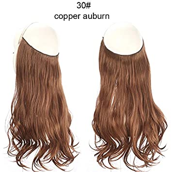 14 16 18 120g Wave Halo Hair Extensions Invisible Ombre Bayalage Synthetic Natural Flip Hidden Secret Wire Crown Grey Pink Synthetic Clip-in One Piece