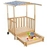 TecTake Sand pit playhouse play veranda wood sun protection sandbox roof cover - different colours - (Blue | No. 401805)