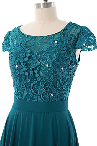 Cap of Mother Party Dress Gown Short the MACloth Women Formal Teal Bride Sleeve Lace tIwT51