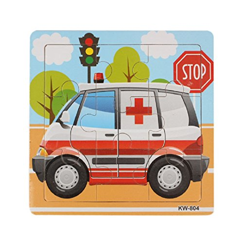 """Learning Puzzles,Malltop Lovely Ambulance Cartoon Wooden Jigsaw Toys For Kids Education 5.8""""x5.8"""""""