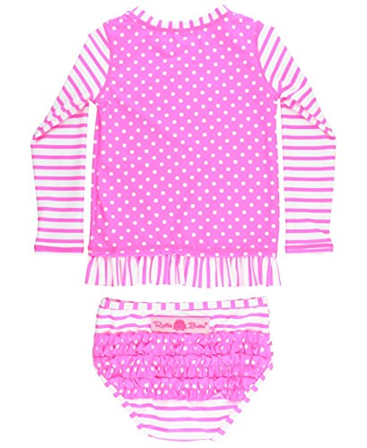 - RuffleButts Little Girls Swimsuit Rash Guard 2-Piece Long Sleeve Set - Neon Pink Stripe Polka Dot UPF 50+ - 3T