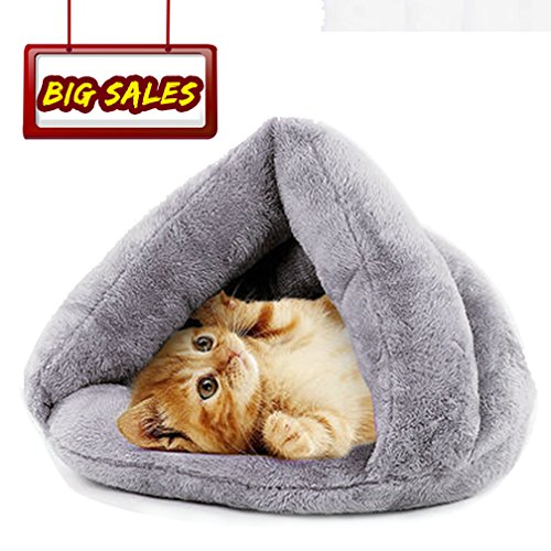 Warm Winter Soft Plush Sleeping Bed for Cats, Self-Warming Cat Bed Indoor Pet Triangle Nest