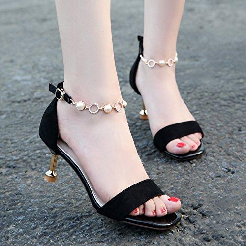 Black Pies Las Black Tacon De Y Suede Los Sexy Zapatos Pequeño Y De Pequeñas Dedos Sandalias Los Hebillas ZHANGJIA Fresco Alto qgfvAwA