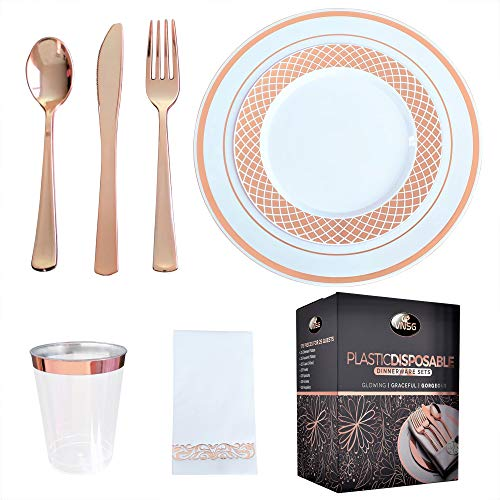 VNSG Rose Gold Plastic Plate Set┃175pcs for 25 Guests┃Rose Gold Party Plates┃25 Dinner Plates, 25 Dessert Plates, 25…