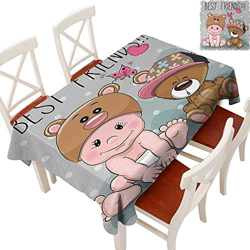 oth Heavy Weight for Kitchen Dinning Tabletop Decoration Cute Cartoon Baby in Bear Hat and Teddy Bear with Butterflies Best Friends Print Multicolor 70