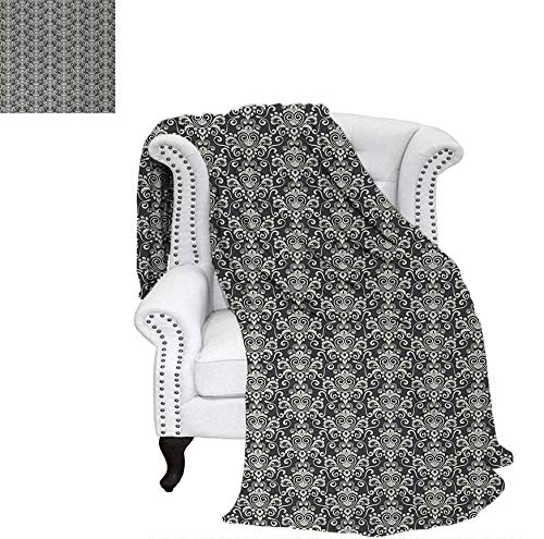 Oversized Travel Throw Cover Blanket Vintage Monochrome Motifs with Abstract Swirls Curves Floral Composition Super Soft Lightweight Blanket 70