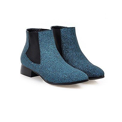 VogueZone009 Damen Niedrig-Spitze Ziehen auf Weiches Material Niedriger Absatz Stiefel Blau