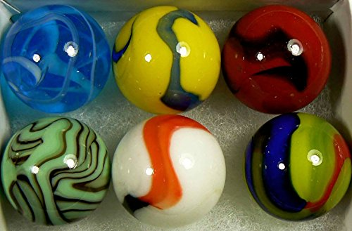 "Unique  Custom {1"" Inch} Set of 6 Large Size ""Round"" Opaque  Clear Marbles Made of Genuine Glass for Filling Vases, Games  Decor w/ Handmade Contem…"