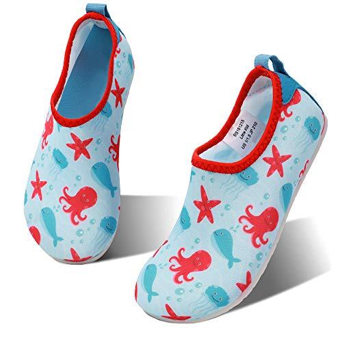 hiitave Boys Swim Water Shoes Non-Slip Quick Dry Barefoot Beach Aqua Pool Socks for Girls Kids Toddler Aqua/Octopus 12-13 M US Little Kid