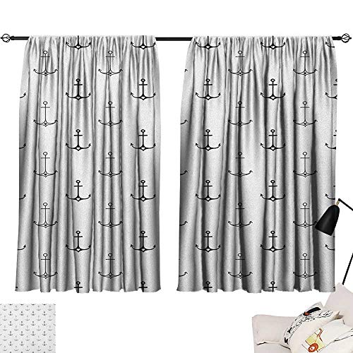 Backdrop Curtain Anchor,Monochrome Figures with Little Hearts Hipster Hand Drawn Tattoo Art Style Retro, Black White 72