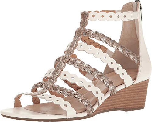Rockport Women's Total Motion 55mm Wedge Gladiator Sandal White/Gold Wedge (Rockport White Shoes)