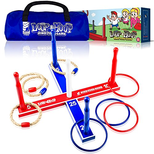 Epitomie Fitness Loop & Hoop Ring Toss Game (Premium) - Ring Toss Games Set With 4 Quoits Rope Rings, 4 Plastic Rings & Carry Bag (Indoor & Outdoor Family (Activity Hoops)