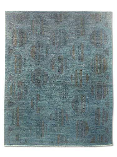 (Pak Persian Rugs Chobi Handmade Over-Dyed Rug, Wool, Dark Grayish Cyan, 7' 11