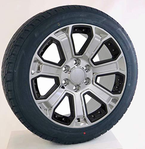 22 Inch Black And Chrome Rims - 22 Inch Chrome with Black Inserts 22x9 Wheels Rims 285/45R22 Nankang Tires Lugs TPMS SET Fits Chevy Silverado Tahoe Suburban GMC Sierra Yukon Denali Cadillac Escalade