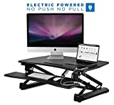 electric adjustable desk - Mount-It! Electric Standing Desk Converter, Motorized Sit Stand Workstation, Ergonomic Height Adjustable Tabletop Desk, Black