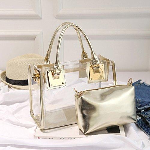Crossbody Transparent Messenger Kofun Shoulder 2x Handbag Tote Candy Ladies Bag White Gold qSFUaxwF