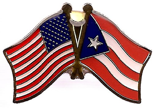 PACK of 3 Puerto Rico & US Crossed Double Flag Lapel Pins, Puerto Rican & American Friendship Pin Badge ()