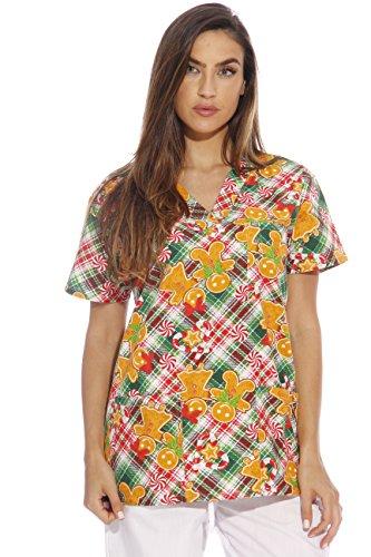 Just Love 216V-13-GING-XL Women's Scrub Tops/Holiday Scrubs/Nursing