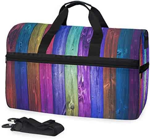 Ambesonne Colorful Gym Bag Anchor Shape in Lines Large Weekender Carry-on