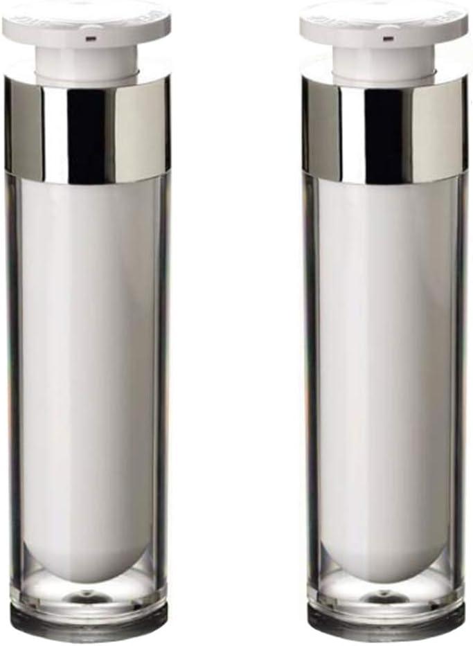 2PCS Acrílico Airless Bomba Vacío Loción Crema Frascos Botellas Vial Bayoneta Eyecream Toner Artículos tocador Cosméticos Líquidos Maquillaje Dispensador (50ml/1.7oz)