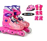 MICRO SKATES MJ COMBO 2018 - kids adjustable inline skates plus protection and helmet included (PINK, EU 27-30 (US JR10-13))