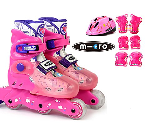 - MICRO SKATES MJ COMBO 2018 - kids adjustable inline skates plus protection and helmet included (PINK, EU 27-30 (US JR10-13))