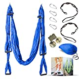 Desson Aerial Yoga Hammock Kit Set Trapeze Sling With Ceiling Hooks | Durable Swing, Extension Straps, Equipment| Ameliorate Your Poses, Alleviate Pains, Enhance Your Aerial Workouts Blue