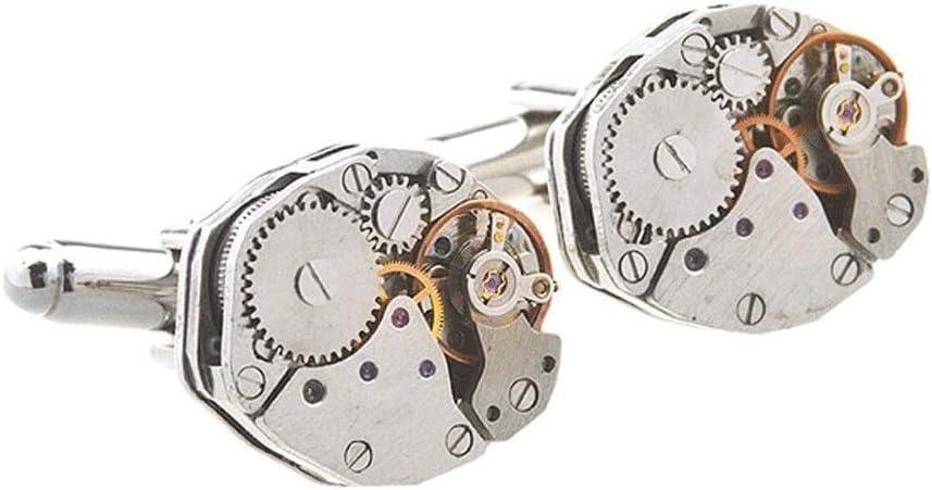 LXUA Gemelos Hombres 1 par de Gemelos de Forma de Reloj de hexágono Vintage for Regalo de graduación de Aniversario de cumpleaños de San Valentín Gemelos Camisa (Color : Silver, Size : 15×15×4mm)