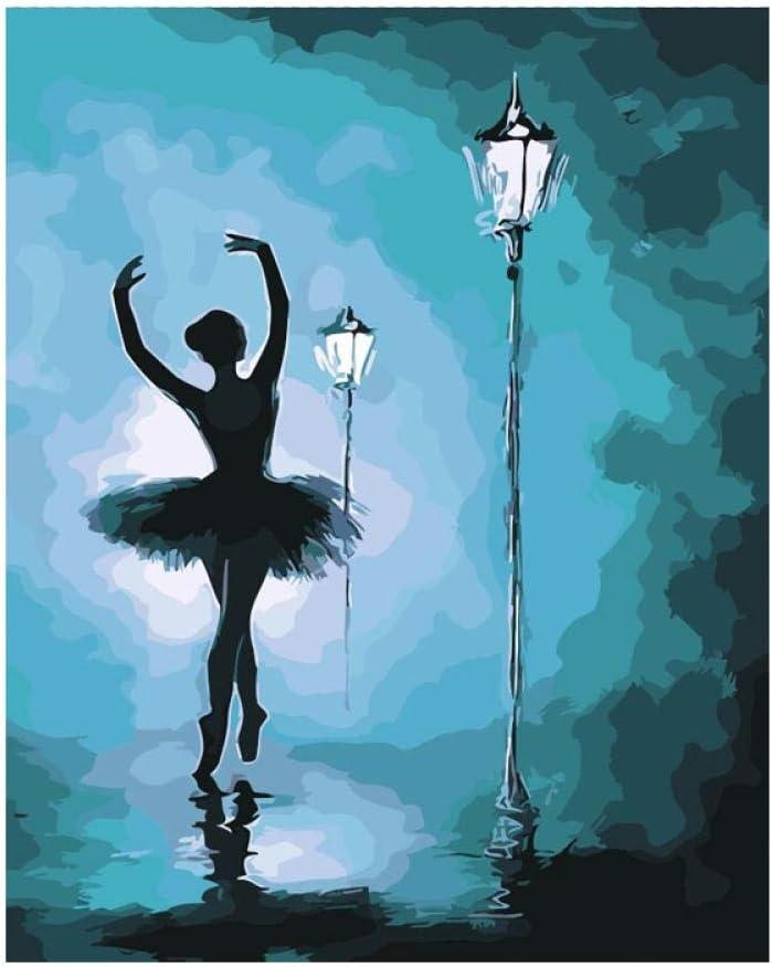 Pintar por Numeros Bailarina de ballet nocturno Pintura al óleo bricolaje para Regalos para niños adultos Decoraciones para el Hogar Regalo hecho a mano 40x50cm
