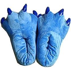 NEW Unisex Womens Mens Kigurumi Soft Coral Fleece Animal Dinosaur Stitch Paw Plush Slippers (Medium, Blue)