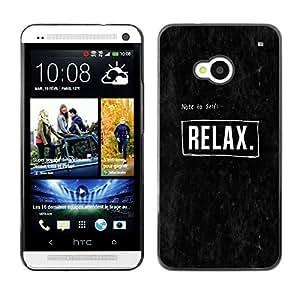 iBinBang / Funda Carcasa Cover Skin Case - Relájese texto Cartel Logo Negro Blanco - HTC One M7