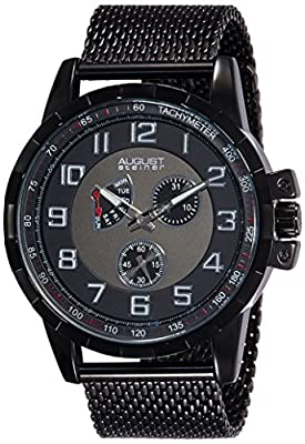 August Steiner Men's AS8202BK Black Multifunction Quartz Watch with Black and Gray Dial and Black Mesh Bracelet