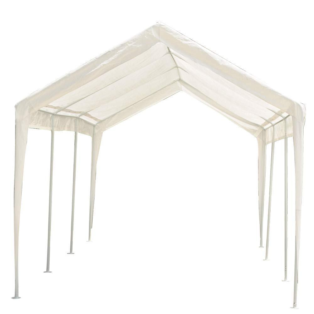 Abdone Carport 10 x 20-Feet Outdoor Heavy Duty Car Canopy Shelter with 8 Steel Legs, Water-resistant & White