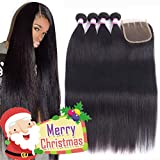 8A Brazilian Remy Hair With Lace Closure Straight Human Hair 4 Bundles Weave With 4x4 Closure 100% Unprocessed Virgin Straight Hair Extension Natural Color (24 26 28 30+Closure 20,Three Part)