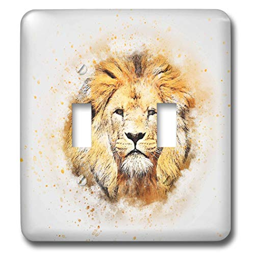 3dRose lens Art by Florene - Watercolor Art - Image of Portrait Painting Of Majestic Lion - Light Switch Covers - double toggle switch (lsp_300361_2)
