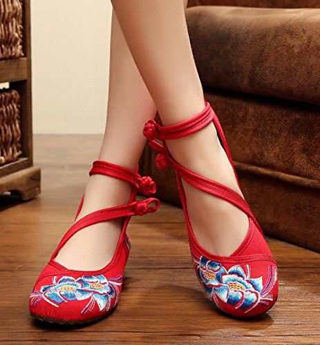 Shoes Summer for Rubber Cheongsam AvaCostume Fashion Sole Sandals Red Embroidery Wedges Womens Dress F4SqSzAw