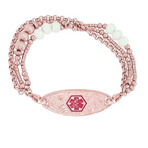 Divoti Deep Custom Laser Engraved PVD Rose Gold Tri-Strand Beaded Lovely Filigree Medical Alert Bracelet for Women -TP Red - 7.25