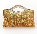 Damara Womens Metal Mesh Large Shirred Clutch Evening Bag, Gold, Bags Central