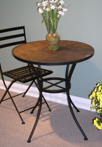 4D Concepts Traditional Metal Round Dining Table with Slate Top