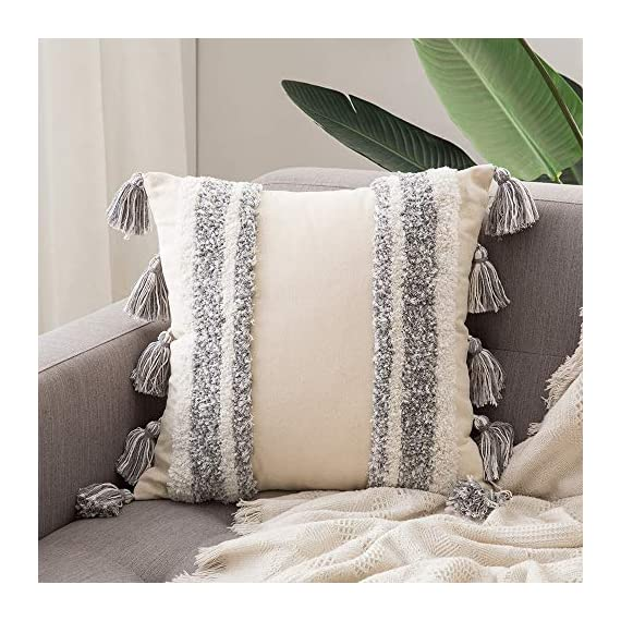 MIULEE Decorative Throw Pillow Cover Tribal Boho Woven Tufted Pillowcase with Tassels Super Soft Square Pillow Sham Pillowcase Cushion Case for Sofa Couch Bedroom Car Living Room 18X18 Inch Grey - Size: Package includes one 18X18 inch / 45X45 cm grey tufted woven pillow cover without insert. Please allow 1-2cm deviation because of manual cutting and sewing. Hidden zipper on the edge works smoothly. Material: The tufting part and tassels are made of 40% cotton, 45% polyester and 10% viscose fiber. The back is made of 100% cotton. Tufted parts are super soft, fluffy and comfortable. Exquisite workmanship enables tufting part and tassels dense and aesthetic. Perfect Decoration: This boho woven tufted pillowcase is in neutral color, which matches well with multiple decoration style. Perfect for placing it in couch, sofa, bedroom, office, living room, party, car, etc, adding a delicate and elegant touch to your room. Also a nice gift for friends, mom and dad or loved ones for Thanksgiving Day, Christmas, etc. - living-room-soft-furnishings, living-room, decorative-pillows - 51fV8OyU1%2BL. SS570  -