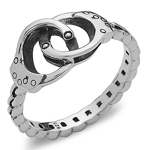 (Silver Phantom Jewelry Handcuff Ring with Chain Band in 925 Sterling Silver - Size)