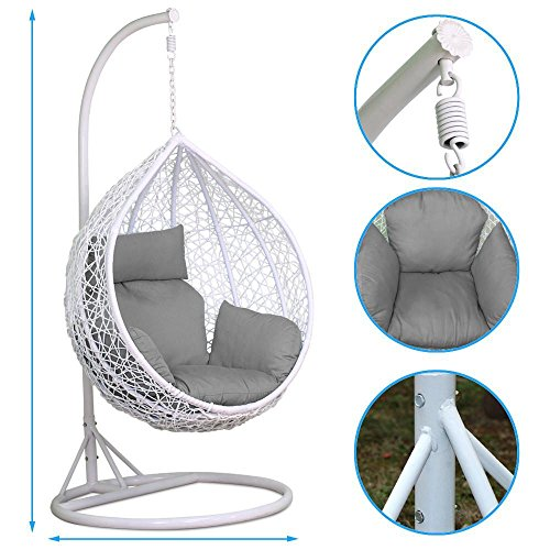 Popamazing White Rattan Hanging Swing Chair,Stand+Cushion+Cover,150kg Capacity