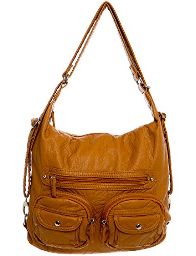 Backpack Leather Premium (Vegan Leather Convertible Backpack & Crossbody Purse 3-way by Ampere Creations (Camel))