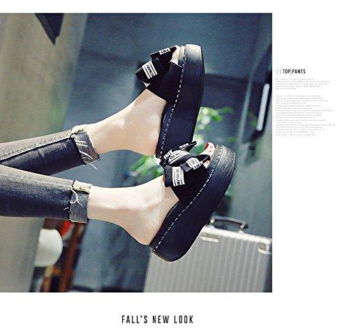 gruesa Heels Slip zapatillas Outer Bow Negro Opcional de 3 Zapatillas High al Flip Fashion animados aire libre Rosado Schoolgirl Muffin deporte Color Flops de Fashion suela de Zapatillas dibujos TCnxdx6