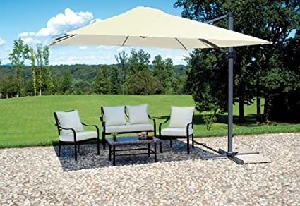 Michele Sogari - Sombrilla de jardín - Base descentrada con brazo de aluminio - Medidas 3 x 4 mt - Color beige - Tejido súper resistente al viento: Amazon.es: Hogar