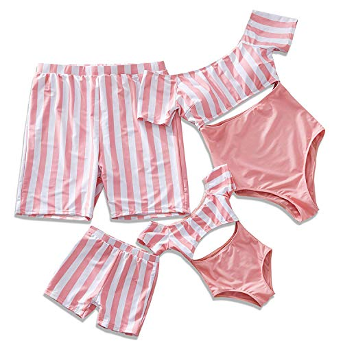 Yaffi Family Matching Swimwear One Piece Bathing Suit Striped Hollow Out Monokini Mommy and Me Beachwear (Boys: 3-4 Years, Pink) ()