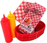 Barbecue Set Deli Diner Baskets, Liners, Napkins & Squeeze Bottles Bundle of 7 Items For Picnics, BBQ's, Parties, Banquets, Get-togethers or Cookout