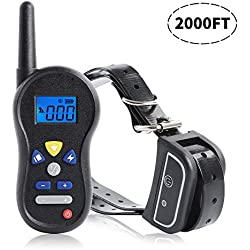 Dog Training Collar,Rechargeable and Waterproof with Beep,Vibration and Shock Electric Collar,2000ft Remote,For All Size Dogs,Mayzo e collar