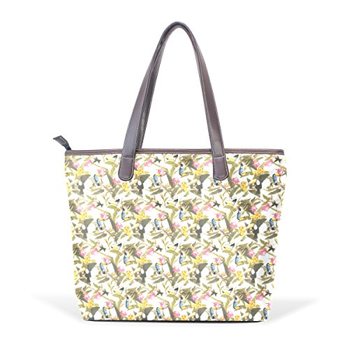 COOSUN Bolso asa grande bolsa de asas para mujer de aves Arte cuero de la PU L (33x45x13) cm muticolour