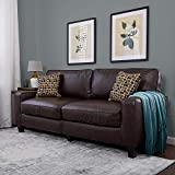 Serta RTA Palisades Collection 78' Bonded Leather Sofa in Chestnut Brown
